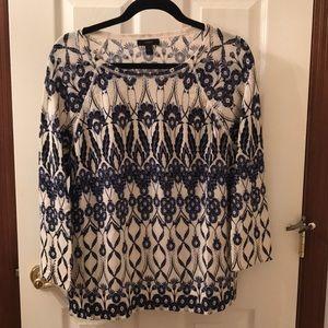 Jcrew flowered cream/blue sweater size XL -$25 OBO